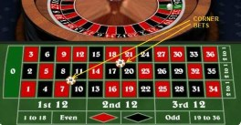 What is a corner bet in roulette?