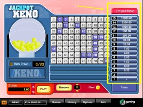 How do you know how much is the payout limit in keno?