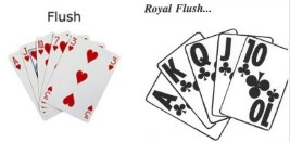 What is the difference in flush and royal flush in video poker?