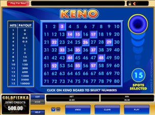 You can play online casino keno for free!